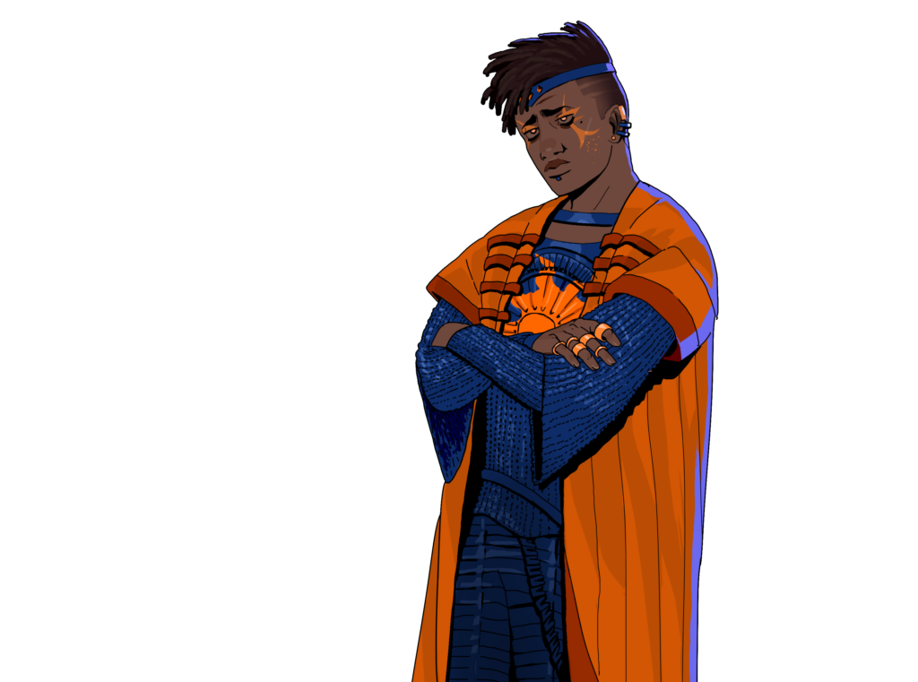 Governor Denton Yang of Gov's Domain, Sector 3, is in his late 20s and is a trans man. As a Governor, he wears elaborate blue and orange face paint and jewelry to mark his rank. A blue diadem set with orange gems separates his twists from his fade, and he has several earrings in each ear, along with a stud below his bottom lip. His eyes are gold and seem to glow, which is the mark of Gov's chosen. There's a permanent crease between his brows because he's constantly anxious, angry, and uncomfortable-- and frankly he knows he doesn't belong in this job. He wears blue chainmail emblazoned with the seven-pointed star of Gov over the circular armor plate on his chest, and has a short-sleeved orange robe over the armor. His defensive posture shows that he's starting to feel more like a prisoner than a ruler.