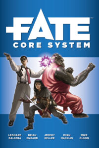 The cover of the Fate Core System is blue. Horizontal bands of darker blue stretch across the top and bottom. The top band features the word Fate in large white text, then Core System below that in smaller white text. There is a man in business attire minus the jacket on the left. He has a red tie, sunglasses, a shoulder holster, and a pistol in one hand. His other hand glows purple with some kind of energy. In the middle is a young woman with medium-length dark hair in a mix of medieval and modern garb, holding a curved one-handed sword. On the right is a gorilla in a pink karate gi, doing a kata.