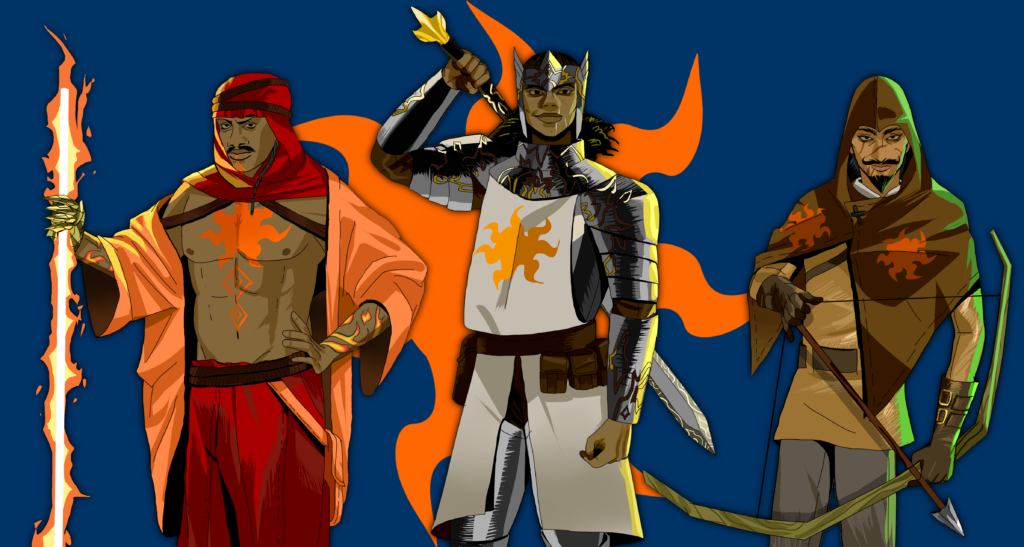 Season 1 characters: Three people stand in front of the Church of Gov's logo: an orange star with seven undulating rays on a field of dark blue. On the left is Squall: a powerful-looking man with black skin. He has a moustache and a serious expression on his face, which is framed by a bright red headscarf. His flowing orange robe is worn open, exposing the massive star of Gov tattoo on his chest. He has more tattoos on his arms and hands. In his right hand, he holds a staff made of fire. He wears loose red pants and golden clawed gauntlets to complete his outfit. In the middle is Zora: a tall, buff woman with dark skin wearing a silver and gold headpiece with metal wings and a point in the center. She looks confident in her silver armor that is also etched with swirling golden patterns. She wears a white tabard with the seven-pointed star on it in gold, a brown belt with several pouches, and she carries a huge sword over her shoulder. The pommel is gold and has three points, much like her headpiece, and the hilt is black with gold inlay. On the right is Quanjoy: a slim man with a van dyke beard and a brown hooded shawl bearing the orange star logo on each shoulder. He has a simple brown tunic and grey trousers beneath, and carries a bow. He has a faint scar over his right eye, and his skin is the colour of sand. He looks like he's most at home out in the desert.