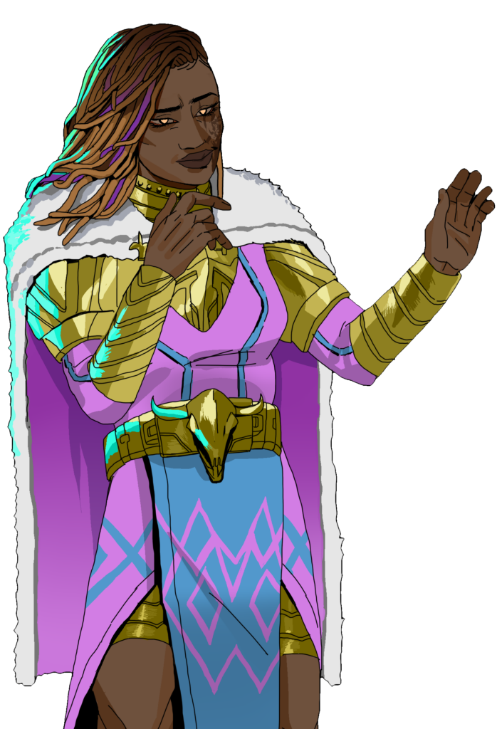 Lean is a black woman with glowing golden eyes and colourful goddess locs. She looks confident-- even cocky-- and acts as if anything that goes wrong is just part of her master plan. She suffered burns over much of her left arm and leg, and still has a prominent burn scar along the left side of her cheek and jaw. Her smirk pulls up the the left side of her mouth. She's also in her late 20s and favours violet, gold, and light blue as her colours. She has a furry white cape over golden banded armor, and wears a pink tunic with blue trim. Her belt has a small golden bull's skull on the front.