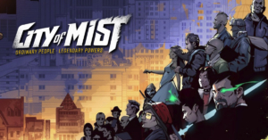 The top left says City of Mist in big white text. The text fades off into misty tendrils on the S and T of Mist. There is a city in the background. On the bottom right of this rectangle, in a triangular distribution, is a larger group of diverse people in mostly modern clothing. One of them has a glowing green eye.