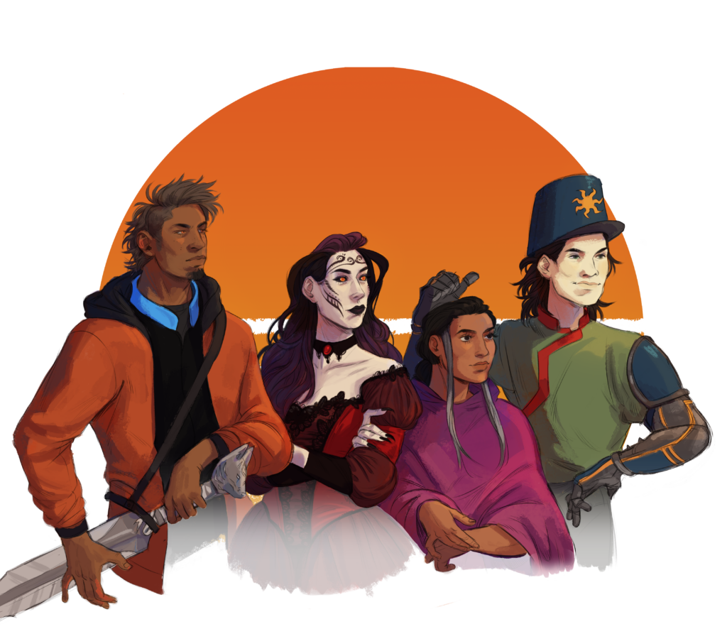The season 1 characters from the main storyline, Splinters of a Broken Sun: Four young people pose in front of the Sunbreakers logo: an orange sun with seven jagged horizontal lines through the bottom half. First is a tall man with a brown mohawk and goatee, along with light brown skin and eyes. He has a strong jaw and prominent nose. He wears and orange hoodie with grey lining over a black shirt with a blue collar. The sword at his hip has a pommel in the shape of a white fox head. Next to him is a creepy woman with long purple hair, pale skin, and elaborate whorling tattoos on her face. She has orange eyes with black sclera and no pupil. She has a choker with a round ruby in the middle and a red victorian-era ball gown. Next to her is a short woman with dark eyes and hair. She has brown skin and looks pensive. The hair at her temples is silver. She wears a pink poncho. Finally, a man with pale skin and mid-length dark brown hair wears a metal bucket-shaped helment with a baseball cap-style brim. It's blue with an orange, seven-pointed star on the front. He has prominent cheekbones and a cocky expression. His tunic is green with red accents, and he wears blue and gray armor on his arms.