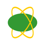 A green ovoid orbited by a pair of flexible yellow rings.