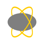 A gray ovoid orbited by a pair of flexible yellow rings.