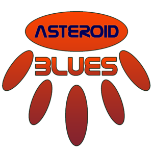 "An orange horizontal oval contains the word ""ASTEROID"" in a futuristic blue font. Beneath that is the word ""BLUES"" in the same font, but in a gradient of orange to blue. The word is surrounded by 5 vertical ovals in a semicircle formation, also with an orange to blue gradient."