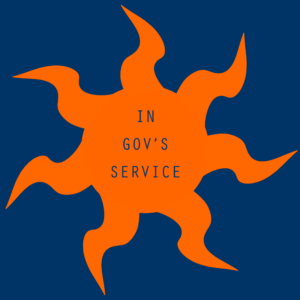 The log for In Gov's Service is an orange sun with seven wavy, pointed rays.
